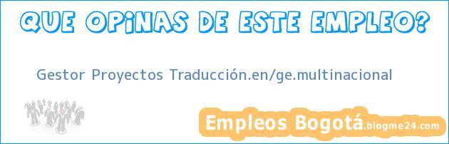 Gestor Proyectos Traducción.en/ge.multinacional