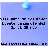 Vigilante de Seguridad Evento Lanzarote del 21 al 28 nov