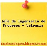 Jefe de Ingeniería de Procesos – Valencia