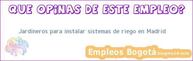Jardineros para instalar sistemas de riego en Madrid