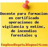 Docente para formacion en certificado operaciones de vigilancia y extinc. de incendios forestales y